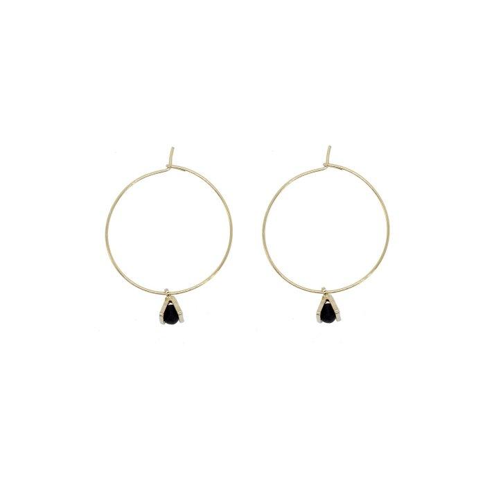Gold Hoop Earrings - Tiny Triangle Charm