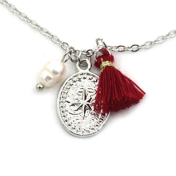 Necklace Northern Star and Tassel Silver