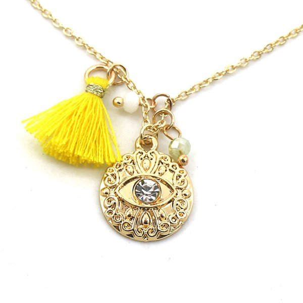 Necklace Tassel and Charm with Eye Gold