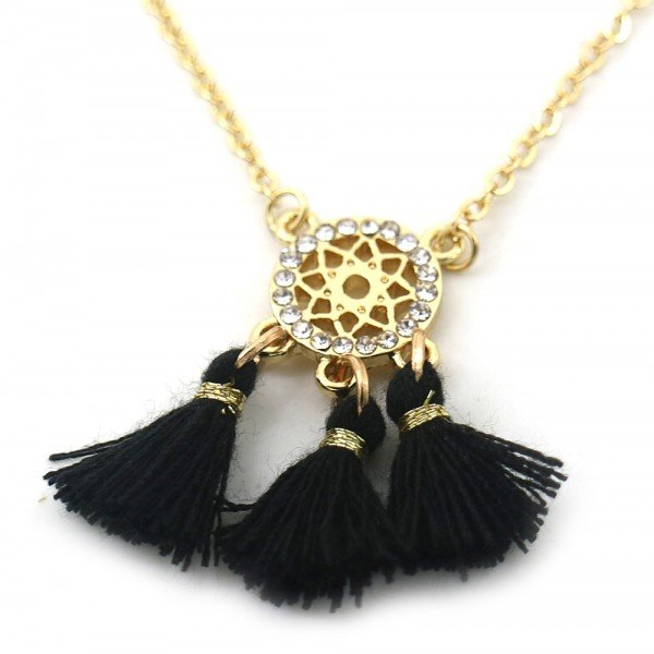 Necklace with Tassels and Crystals Gold