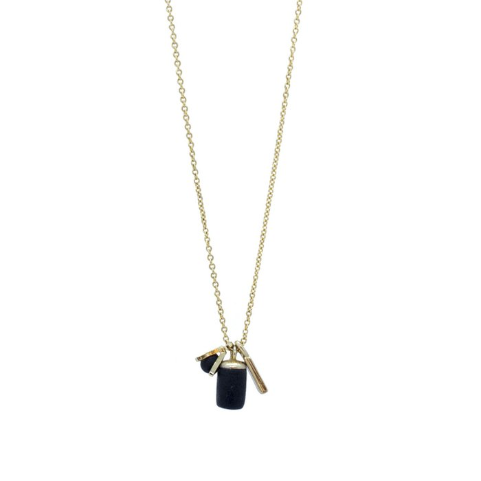 Gold Necklace - Triple Tiny Charm Triangle/Weight/Bar