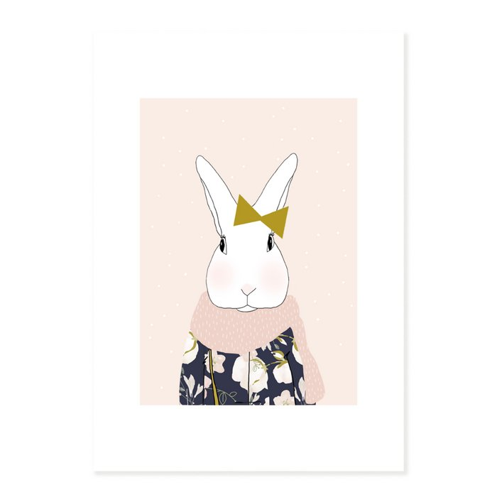 Print Miss Josephine Winter - Rabbit with Pink Scarf and Bow Tie portrait