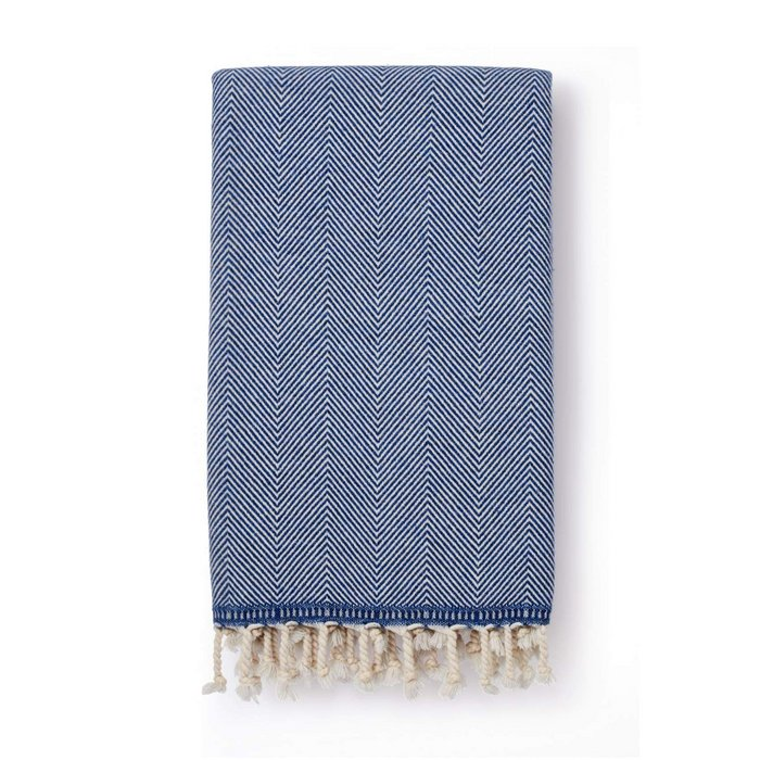 Sema Herringbone Cotton & Wool Blend Blanket Denim