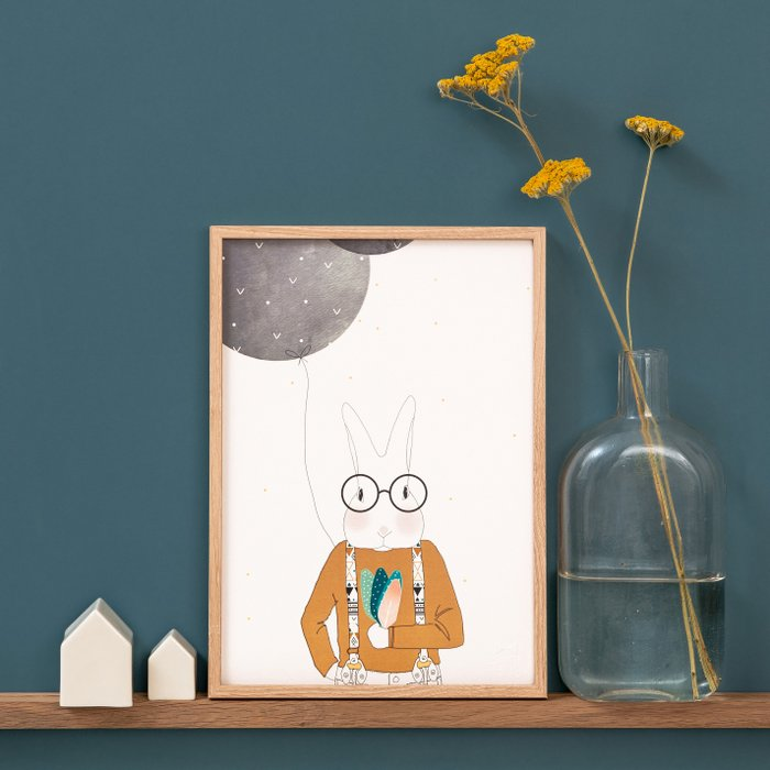 Print Mister Camille Apache - Rabbit with Glasses and Straps Portrait Feathers and Black Balloon