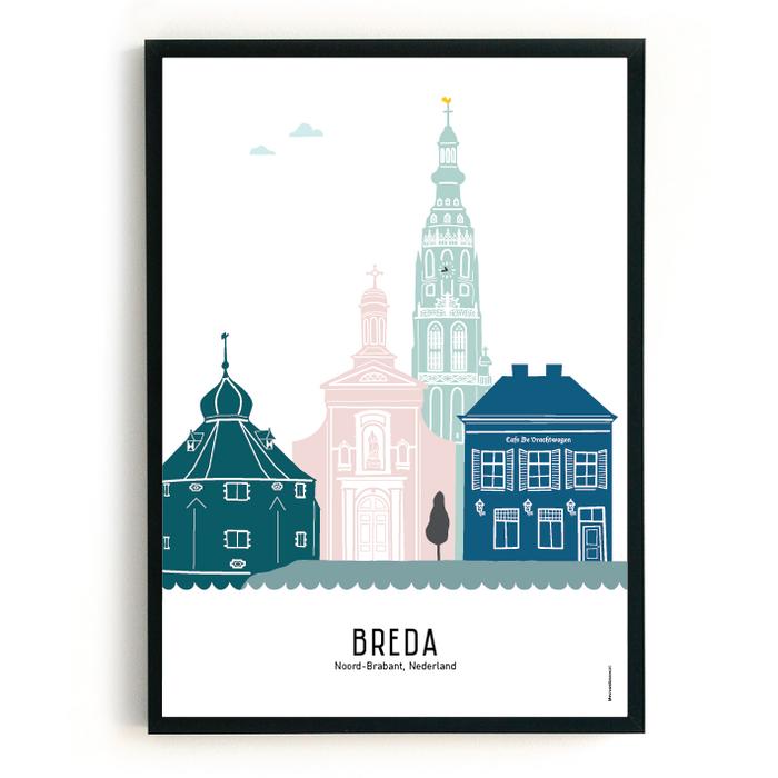 Poster skyline Breda in kleur