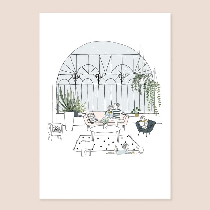 Print Conservatory - Family on living room with Stove Sofa and Canopy