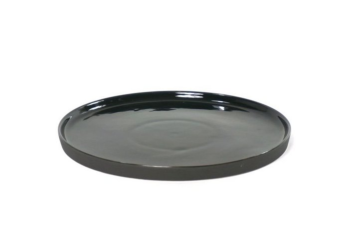 bord cer rond 26x1,5cm glans. zwart m.matte onderzijde