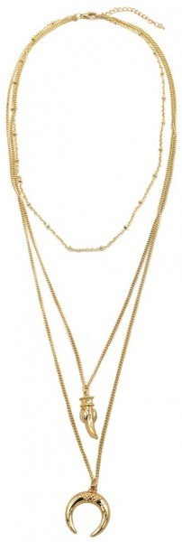 Layered Necklace Tooth and Moon Gold