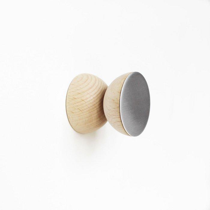 Double Round Beech Wood & Aluminium Wall Hook / Knob
