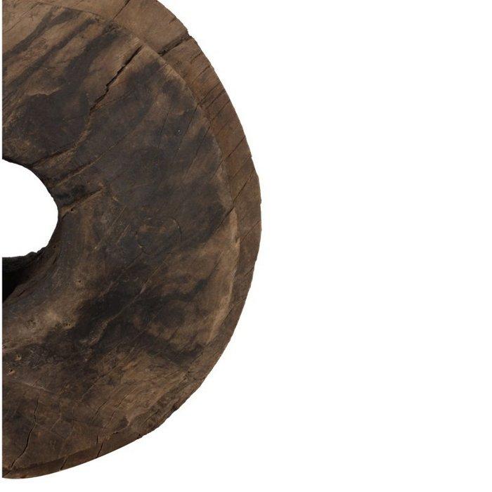 Oud houten wagenwiel op standaard 40cm