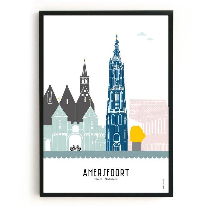 Poster skyline Amersfoort in kleur