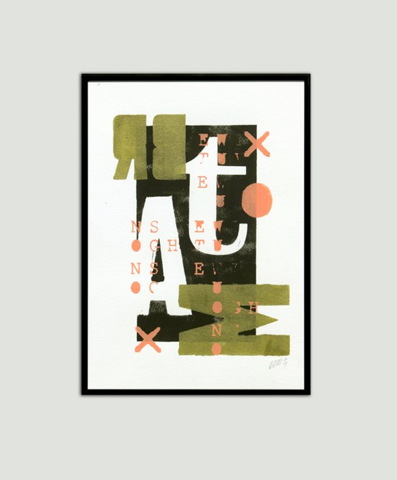 Schilderij - Gold Typography Small