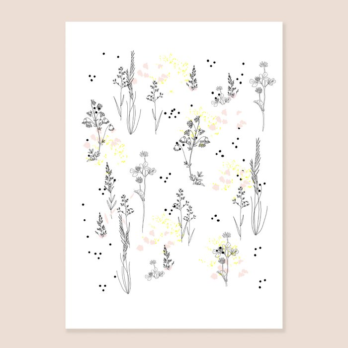 Print Herbarium - Stylized Plants Print with Yellow and Pink pastels