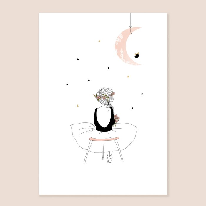 Print Muse - Seated on Stool Girl Back view with White Dress and Black Top