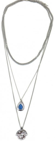 Layered Necklace Chain and Coin Silver