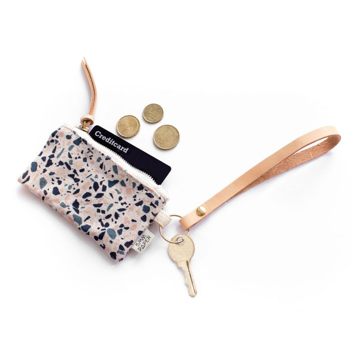 Leather Key Chain with Card/Coin Pouch - Terrazzo Blue Peach I