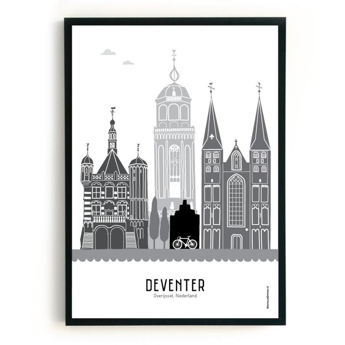 Poster skyline Deventer zwart-wit-grijs