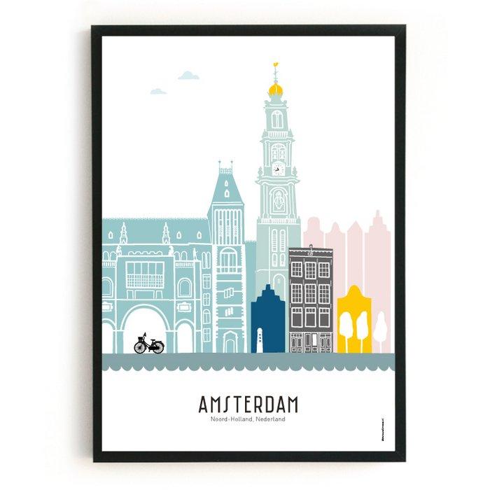 Poster skyline Amsterdam in kleur