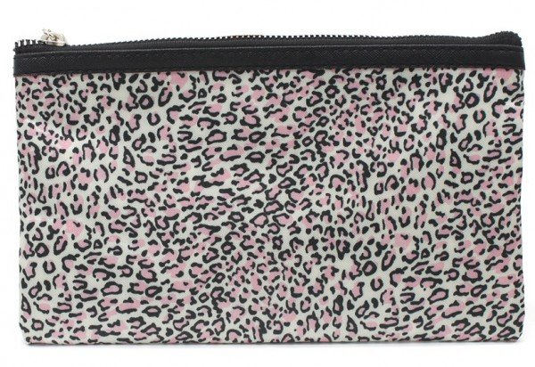 Make Up Bag with Leopard Print and Tassel 22x13.5cm Pink