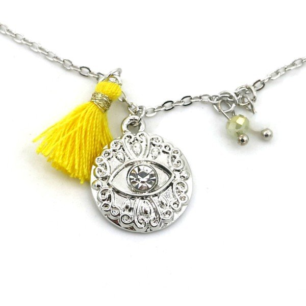 Necklace Tassel and Charm with Eye Silver