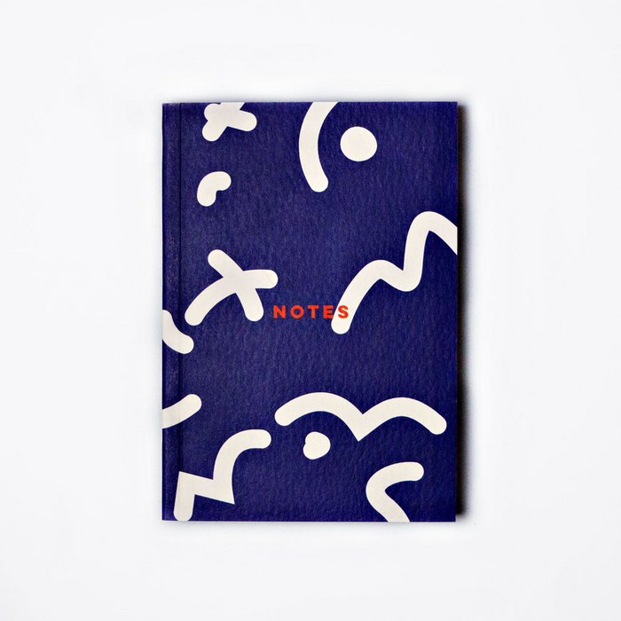 BLUE SPACE SQUIGGLE LAY FLAT POCKET NOTEBOOK