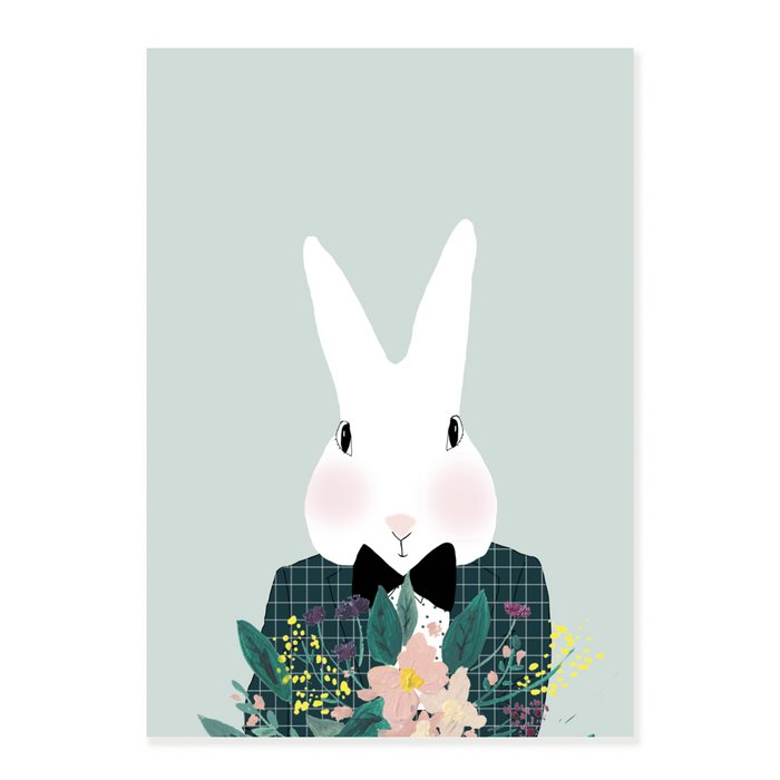 Print Mister Camille with FLowers - Rabbit with Suit and Bow Tie Portrait