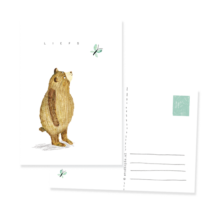 postcard - bear and butterfly - liefs
