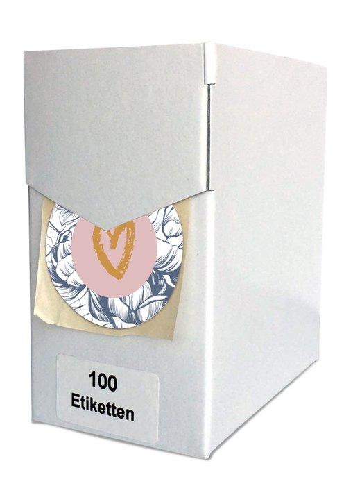 Etiketten Blanco hart - per 100 op rol in dispenser