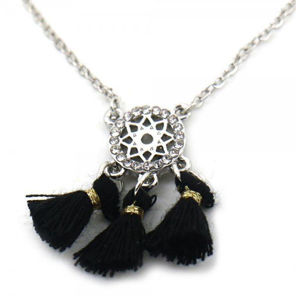 Necklace with Tassels and Crystals Silver