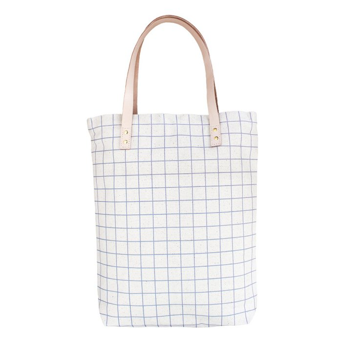 Cotton Canvas Tote Bag with Leather Straps - Ash Blue Grid Lines