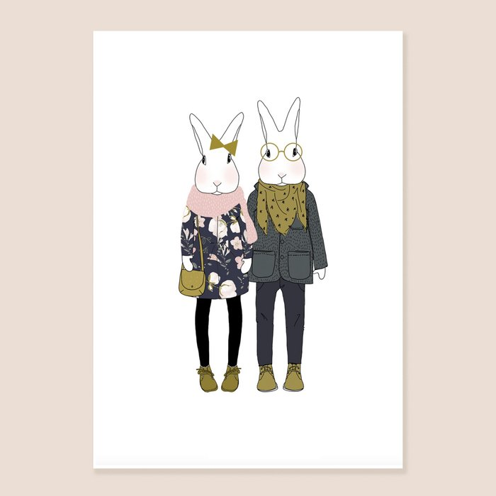 Print Camille and Josephine - Two Rabbits With Scarf and Jacket Portrait
