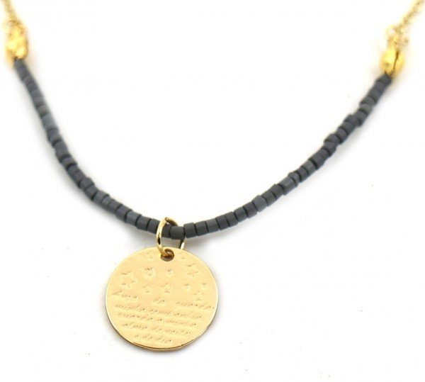Necklace with Beads and Coin Gold