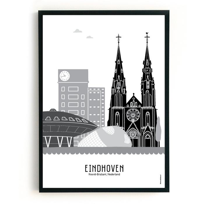 Poster skyline Eindhoven zwart-wit-grijs