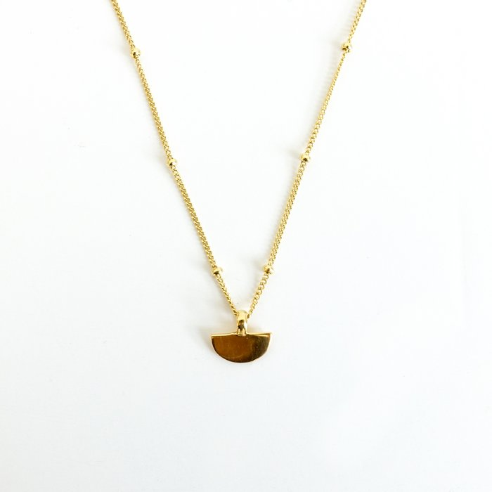 Half Disc Necklace Gold