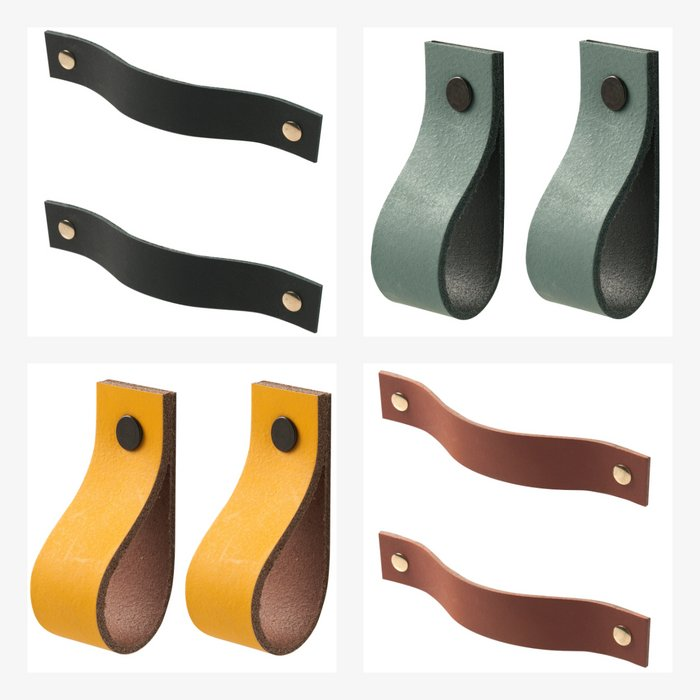 Leather handles - size S (set of 2, including 4 screws) | Leren handgrepen - maat S (set van 2, inclusief 4 schroefjes)