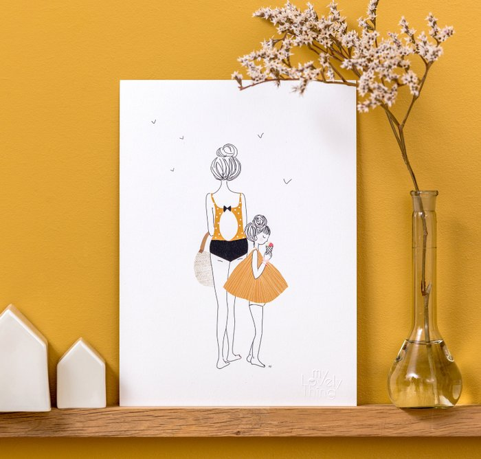 Print Walk Girl - Mum Yellow and Black Swimsuit with Daughter eating Ice Cream