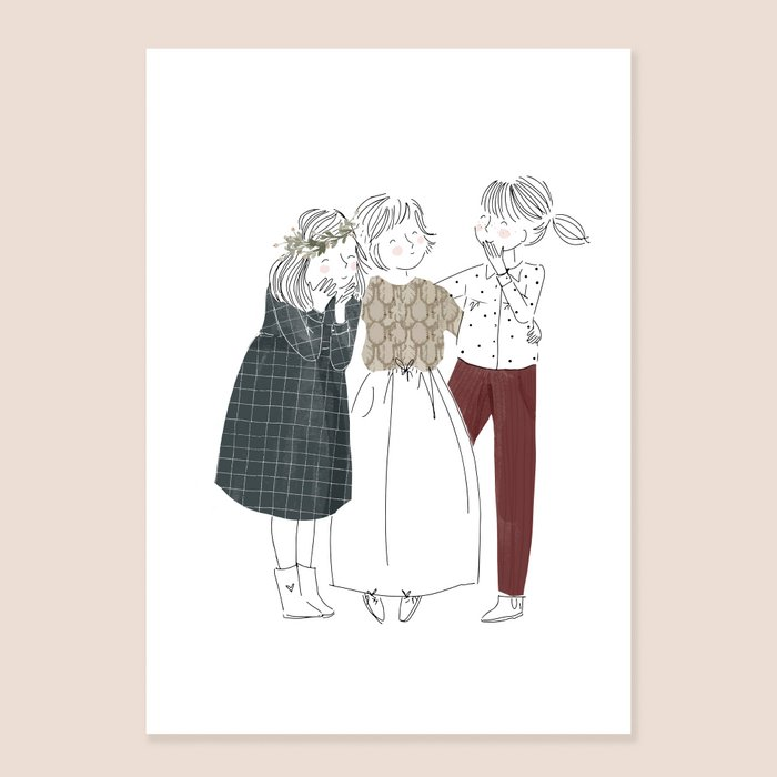 Print Friends - Fine Lines Three Girls White Dark Grey Dress and Bordeaux Pants