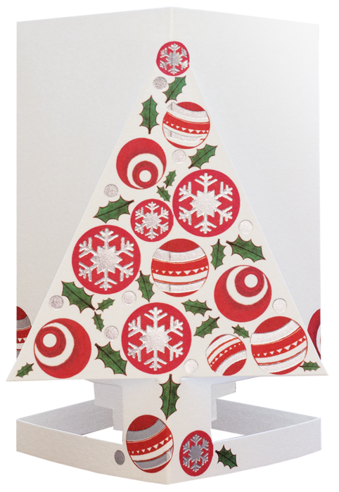 CARDLE Christmas Tree Red (Christmas Tree) - Candle Holder Greeting Card