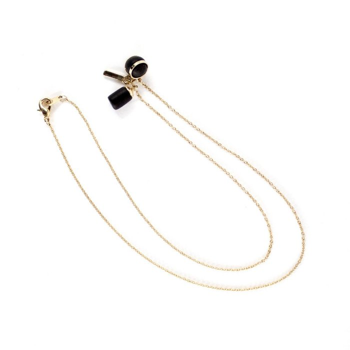 Gold Necklace - Triple Tiny Charm Ball/Weight/Bar