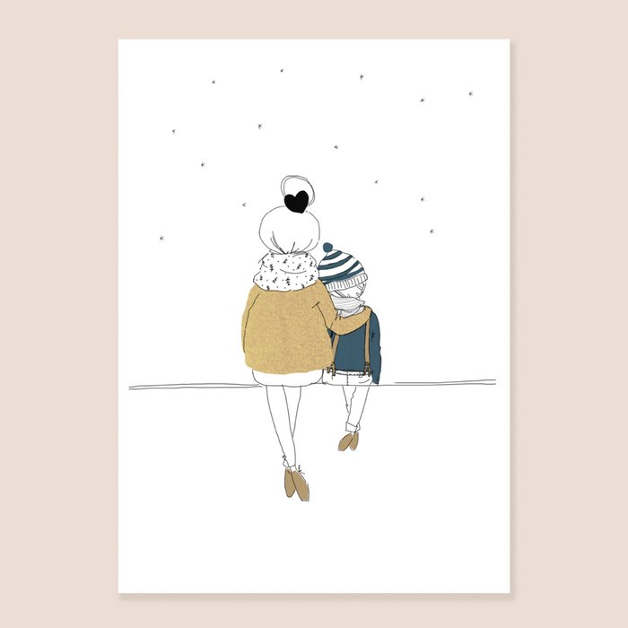 Print Love Mum and Boy Winter - Back view Seated Mum with his son in Winter