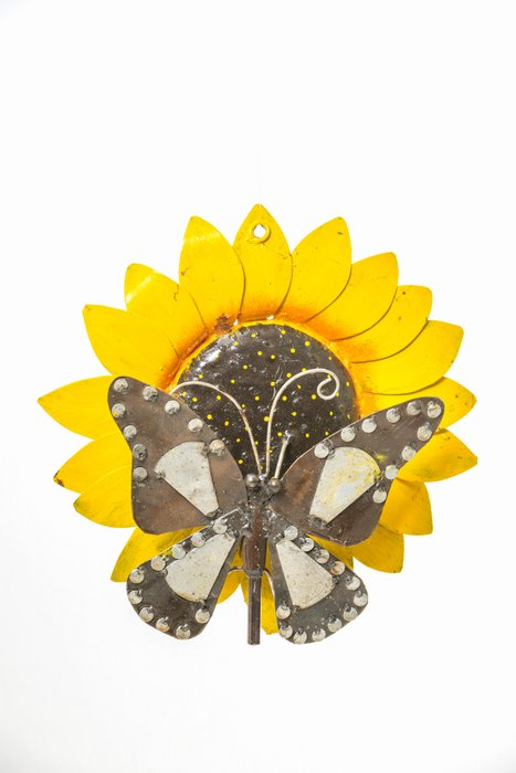 METAL SUNFLOWER BUTTERFLY HANGING