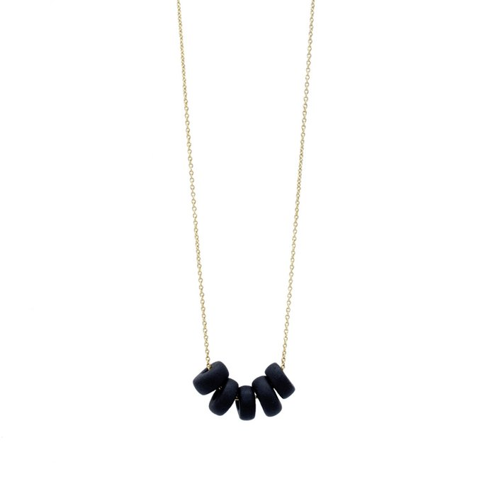 Gold Necklace - Black Disk Beads