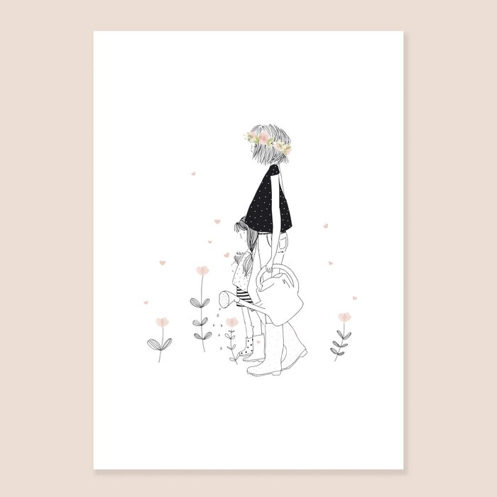 Print Lovely Mummy - Grandmother and Grandchild with Watering Can and Boots in the Garden