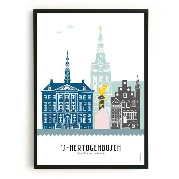 Poster skyline Den Bosch in kleur