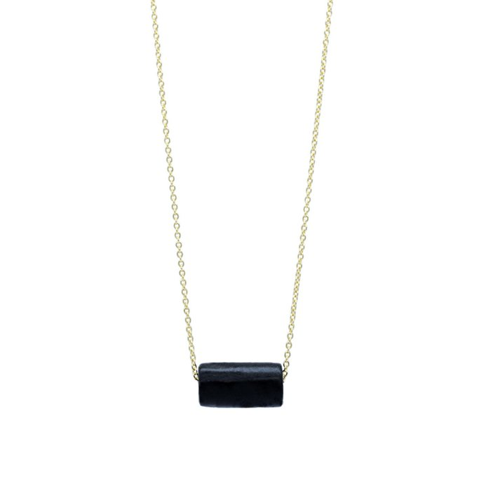 Gold Necklace - Black Bead