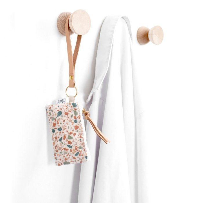 Leather Key Chain with Card/Coin Pouch - Terrazzo Terracotta Green