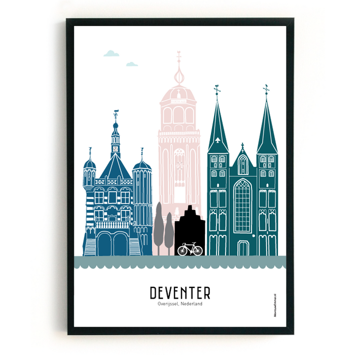Poster skyline Deventer in kleur