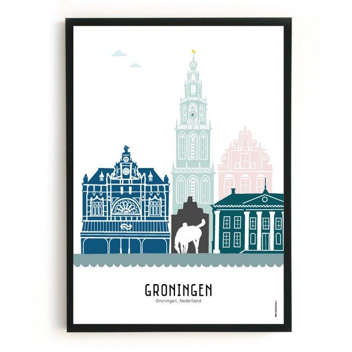 Poster skyline Groningen in kleur