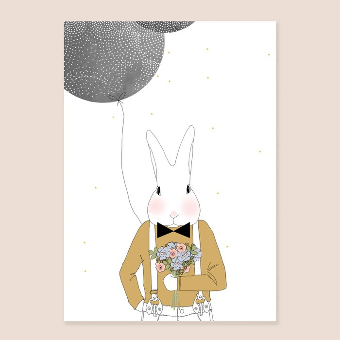 Print Mister Camille - Rabbit Portrait with Bow Tie Flowers and black Balloon
