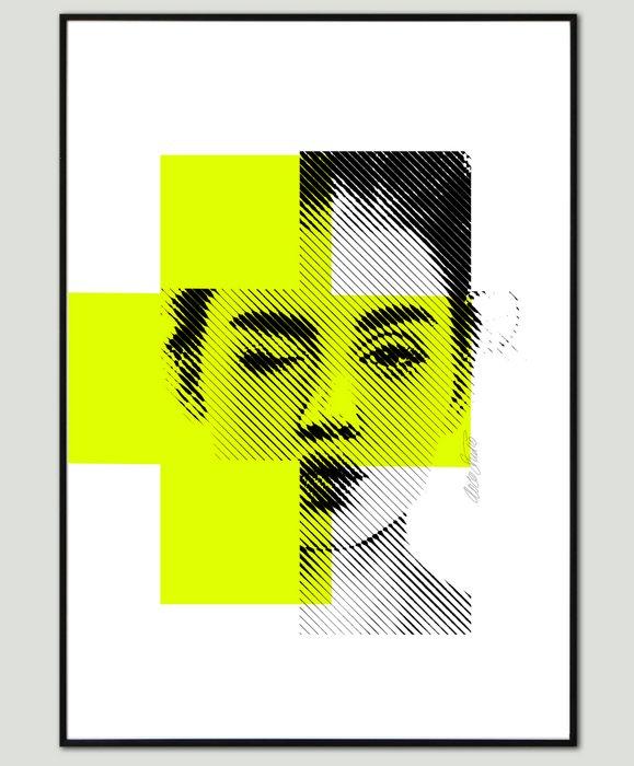 Mixed Media - Biting Lip in Neon 3